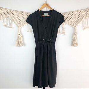 Anthropologie Maeve Black Button front dress Small
